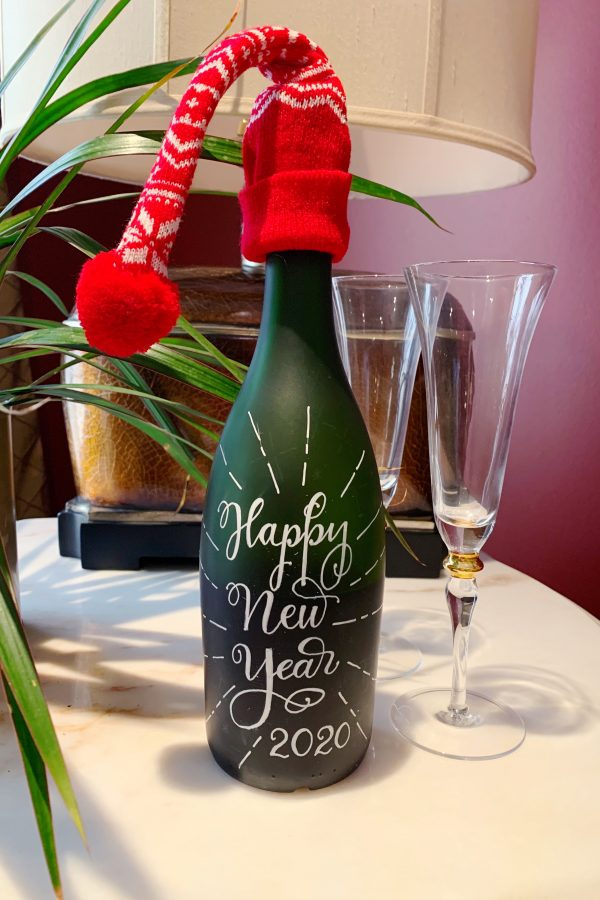 Hand-Lettered Champagne Bottle done with Faux Calligraphy.