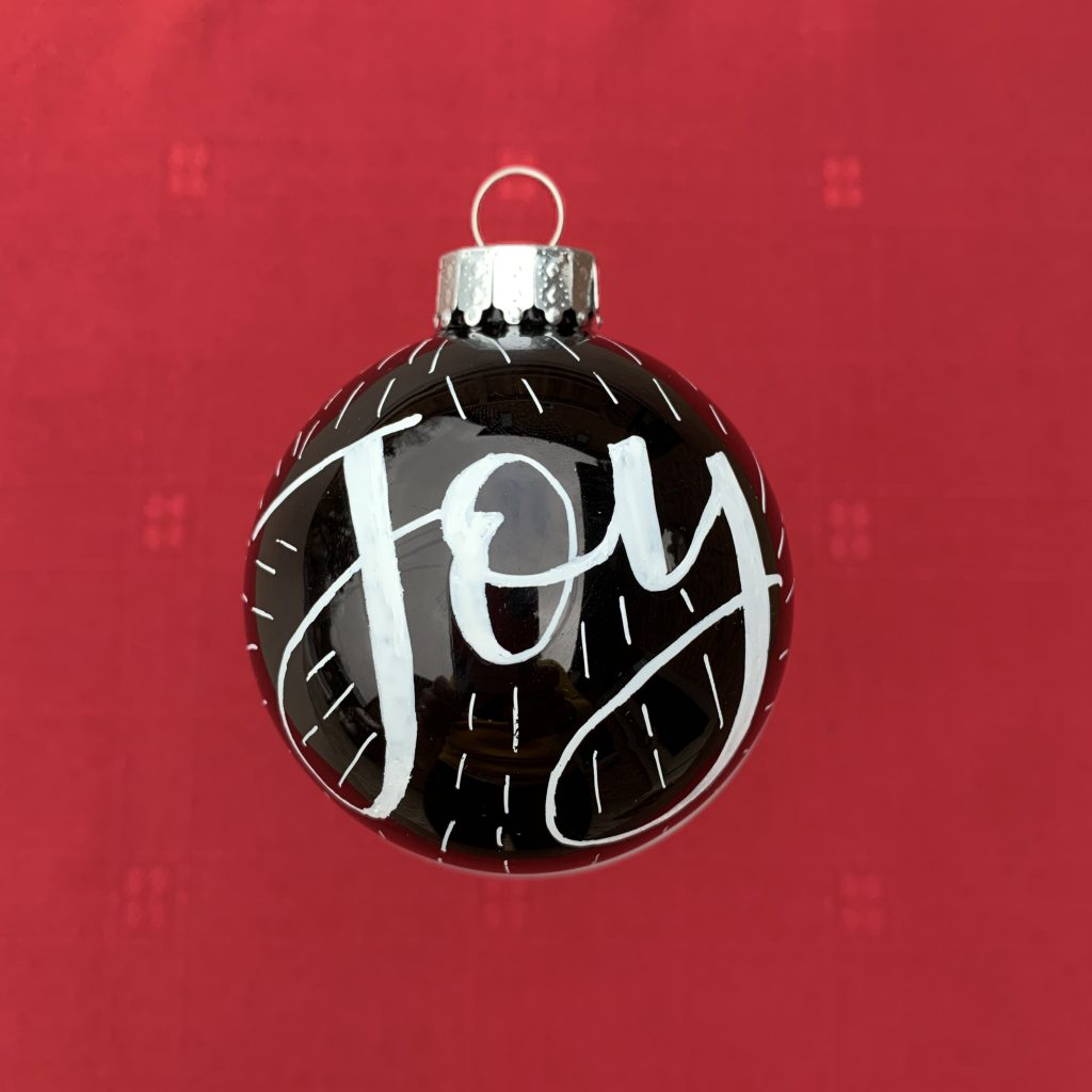 """Joy"" hand-lettered Christmas Ornament"