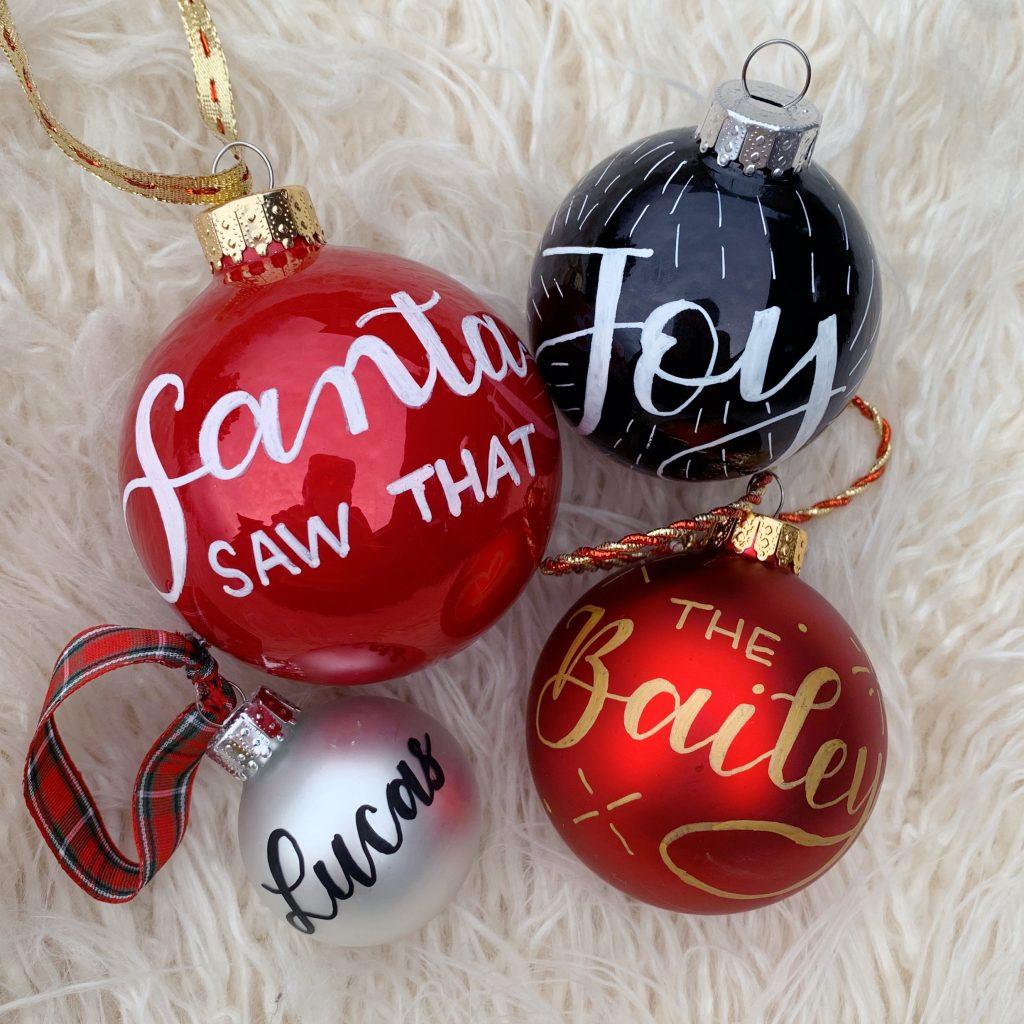 Hand-lettered Christmas Ornaments